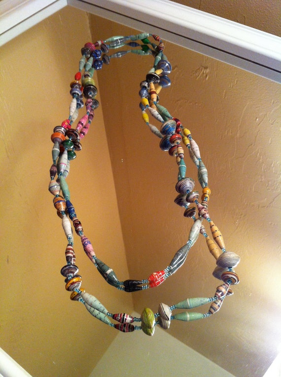african paper beaded necklace: tiffany blue