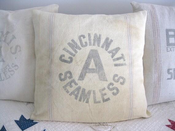 RESERVED for Jill - Farmhouse Grain Sack Pillow, Cincinnati Seamless 19x19 Throw Pillow