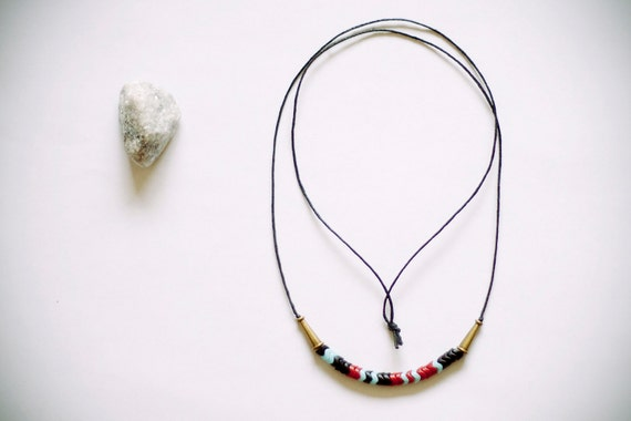RESERVED for LAURA PERRICONE pale blue, black & red glass czech trade beads, long necklace