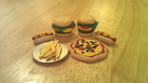 Miniature Polymer Clay Food-FREE SHIPPING- Pizza, Hotdogs, Burgers, Fries Dollhouse mini junkfood :)
