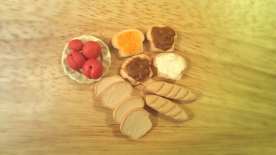 Miniature Polymer Clay Breads, Peaches, Peanut Butter Dollhouse