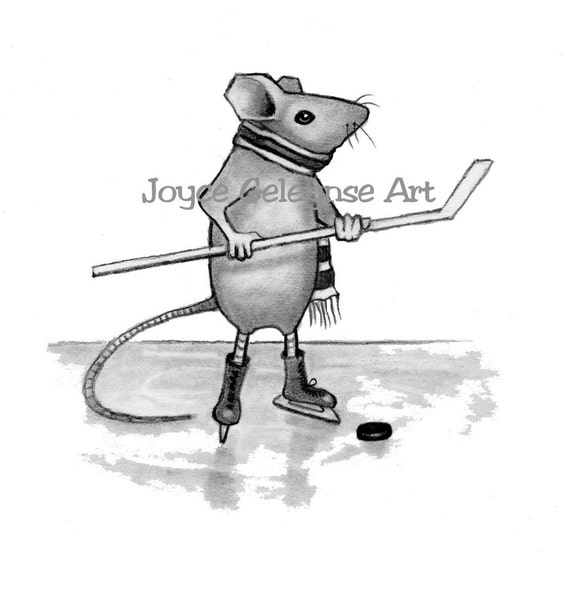 Items similar to Mouse Playing Hockey: Pencil Drawing ...