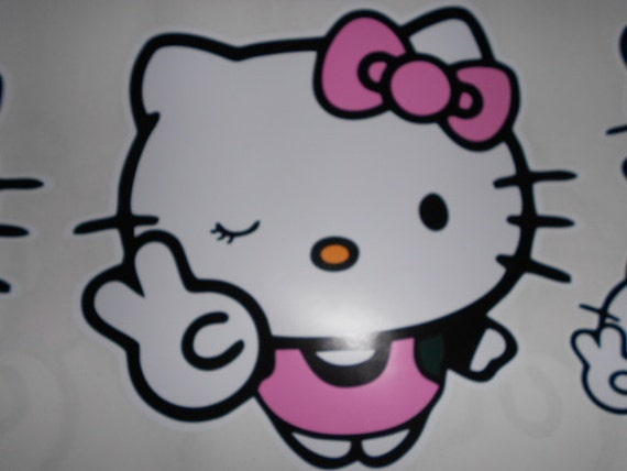 Items similar to Cute Peace Wink Hello Kitty Wall Decal 5 ...