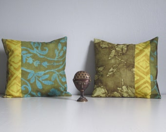 Batik Pillow Covers- Floral, Paisley. Turquoise & Olive Pillow Covers, Set of 2 18x18 Pillows