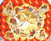 Vintage Cookie Tin- Christmas tin- Child with gifts-  Retro Christmas decor-  Red Yellow tin