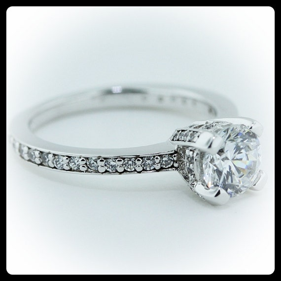 Moissanite Engagement Ring Diamond Side Stones Ring Name Tower