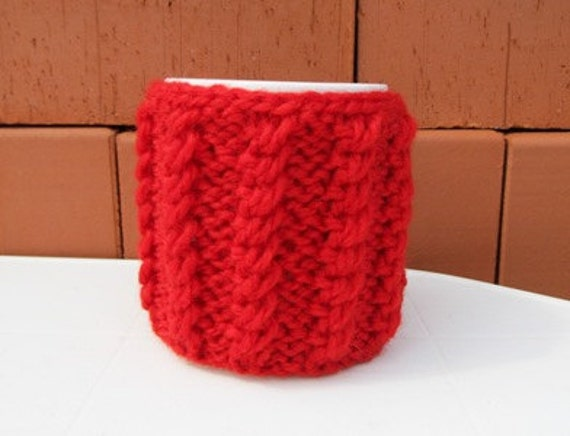 Knitted Red Mug Cozy,  Red Tea Cup Cosy, Mug Warmer knitted