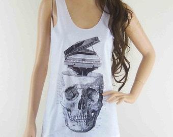 Skull Piano (Size S) Skull Design Skull Tank Top Women T-Shirt Skull Shirt White T-Shirt Tunic Screen Print Size S