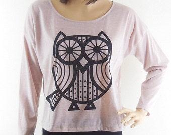 Owl Lined Owl Tshirt Animal Tshirt Women Shirt Teen Shirt Funny Shirt Graphic Long Sleeved Tshirt Tunic Top Pink Tshirt Screen Print Size M