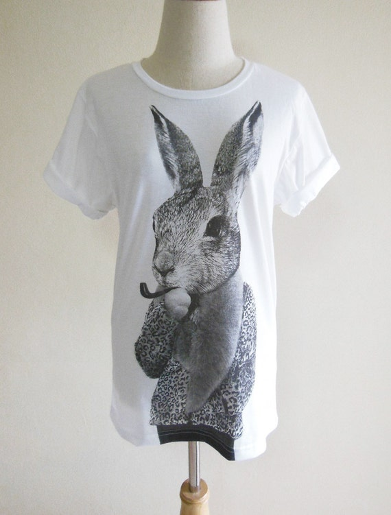 Bunny Rabbit Smart Cigar Animal Style Unisex T-shirt White T-Shirt Screen Print Size S