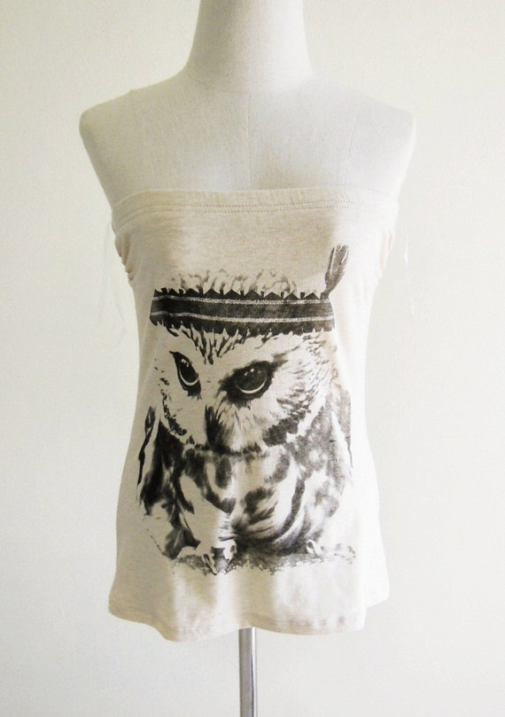 Cute Baby Owl Indian Animal Style Strapless Tube Top Crop Tee Women Shirt Brown T-Shirt Screen Print Size M