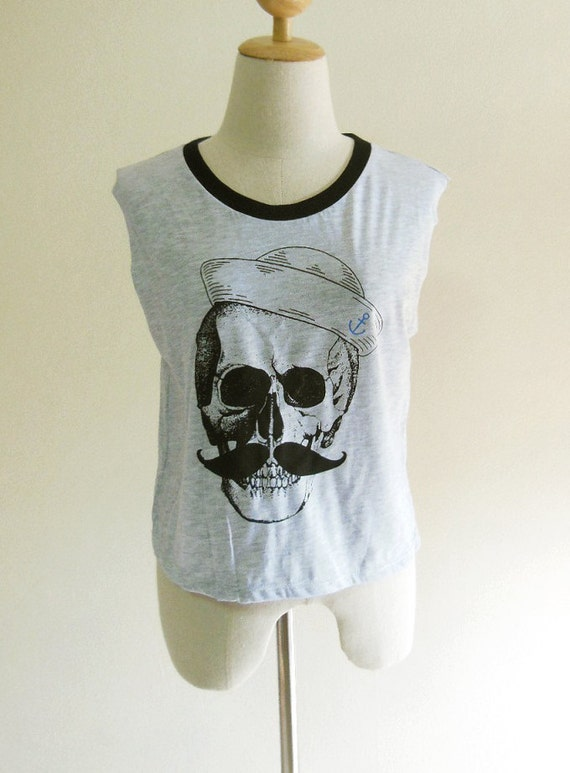 Skull Hat Skull mustache Art Design Skull Tank Top Women T-Shirt Grey T-Shirt Tunic Screen Print Size M