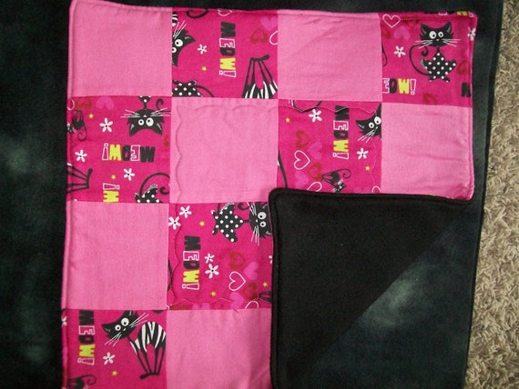 """Pink MEOW    Cat  Blanket   14.5""""  x 15"""""""