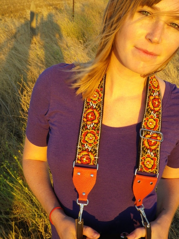 Vintage Brocade Camera Strap with red leather ends