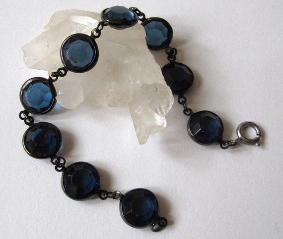 1970's Blue Glass Gem Bracelet