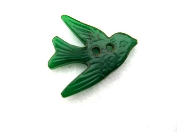 Vintage Green translucent bakelite Bird button