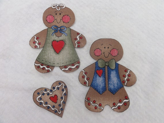 Iron on Medium Size Gingerbread Boy & Girl - 5 1/2 X 4 1/2 Inches ...