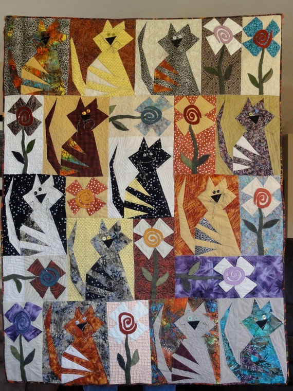 Quilt For Cat Lovers Quirky Cats Cat Quilt M 6