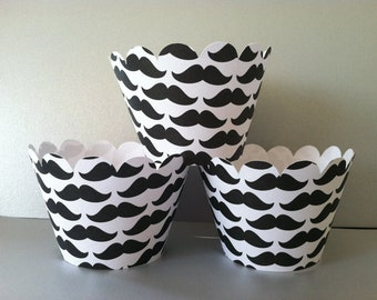 Ready to ship 12 Mustache Cupcake Wrappers