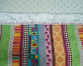 """Personalized Minky Baby Blanket with Designer Stripes, Girls or Boys, 29"""" x 35"""", Custom Embroidered"""