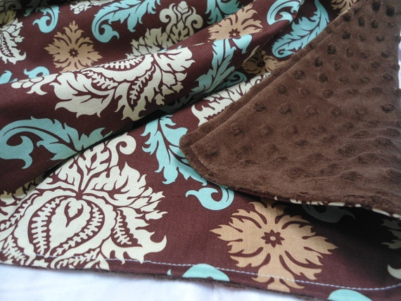 """Personalized Minky Baby Blanket with Designer Brown and Turquoise Damask, Boys and Girls, 29"""" x 35"""""""