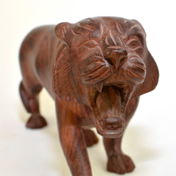 Carved Wooden Tiger Statue Figurine - Large, Handmade, Solid Wood - Vintage Collectible for Home Decor or Gift