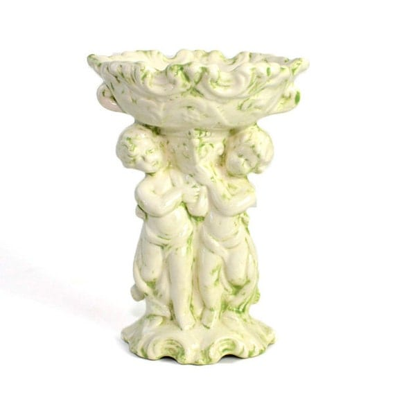 Cherub Pedestal Soap or Candy Dish - Green & Ivory Painted Ceramic, Old Fashioned Style - Vintage Home Decor