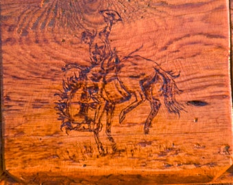 Western Curio Box with wood burned bucking horse on flip top lid