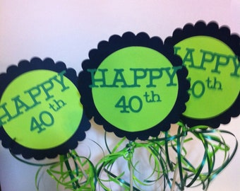 40th Birthday Centerpiece Signs with Personalized Text