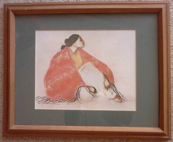 R C Gorman Framed Signed Paper Print Summer Lady 1978