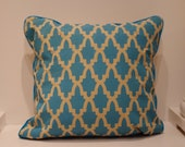 Moroccan Tile Hand Printed Throw Pillow Turquoise Blue and Tan
