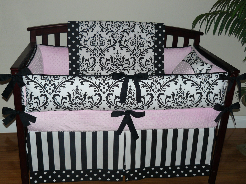 baby bedding black and white damask light baby pink. Black Bedroom Furniture Sets. Home Design Ideas