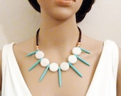 Dagger Necklace - White Marble Disc Necklace - Blue Howlite Necklace - Spear Necklace - Fringe Necklace