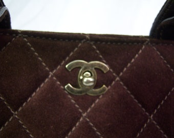 Vintage Chanel dark brown/cranberry suede quilted Cerf tote bag w/ cross body strap PRICE REDUCED