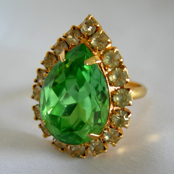 Faux Emerald and Faux Diamond Adjustable Cocktail Ring - Vintage