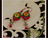 Strawberry red floral earrings