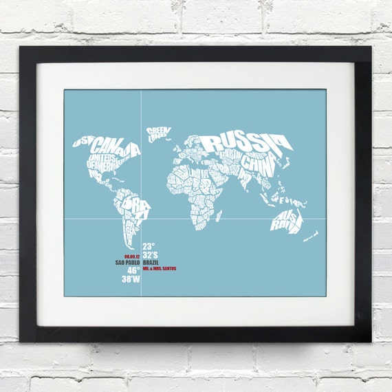 Coordinate Wedding or Anniversary Gift, World Word Map, Date and Place, Bride and Groom, Any Location, Bridal Shower, Custom Color Choice