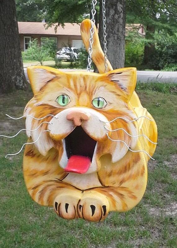 Cat's Meow Cat Birdhouse bird house, cat lover gift, pet lover gift, yard decor, bird lover gift