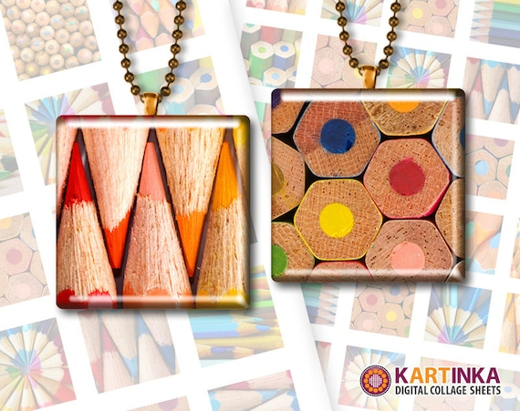 BACK TO SCHOOL Pencils - 1x1 inch and 1.5x1.5 inch Squares Digital Collage Sheet Printable Download for Pendants Magnets