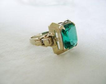Antique 14K Gold Ring - Faux Emerald 1930s Costume Art Deco Original Box
