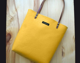 Original Yellow corn tote bag,linen,personalized,color inside,Leather straps,your initials,handbag,purse,Tote fabric bag,Tote bag.chic