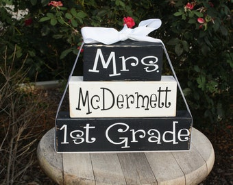 Personalized Teacher Wood block set