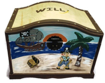 Pirate Theme Treasure Chest, Toy Trunk, Dress-Up Trunk Handpainted - perfect for toys, keepsakes, storage and organization