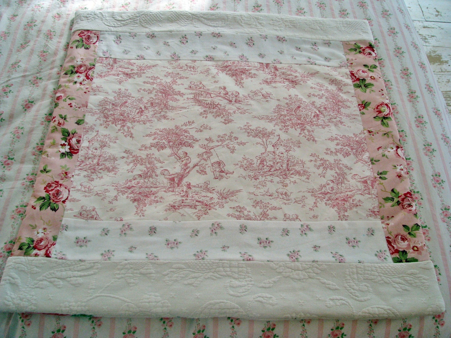 New Shabby Chic Roses Pink Toile Rug Rachel By