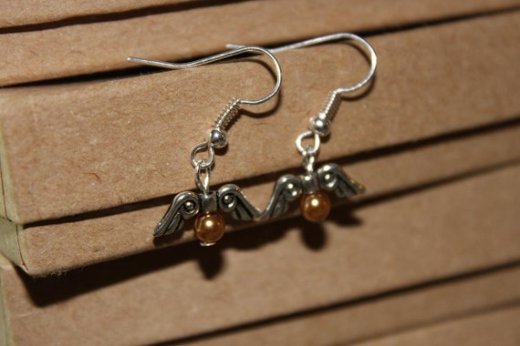 Tiny Golden Snitch earrings