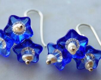 Vivid Czech blue glass  white freshwater pearl swarovski crystal wildflower earrings handmade sterling ear wires.Texas Bluebonnets by Reneux