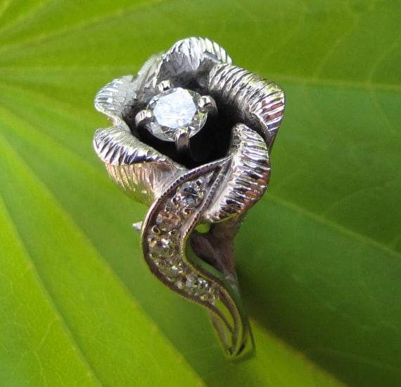 HELD for Mark / Wild Rose : Antique VS Diamond Engagement Ring, White Gold, Solitaire with Woodland Accents- 1960s