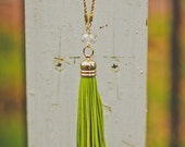 Lime Tickle me Tassel Necklace
