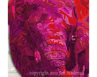 Elephant artwork print, hot pink colors