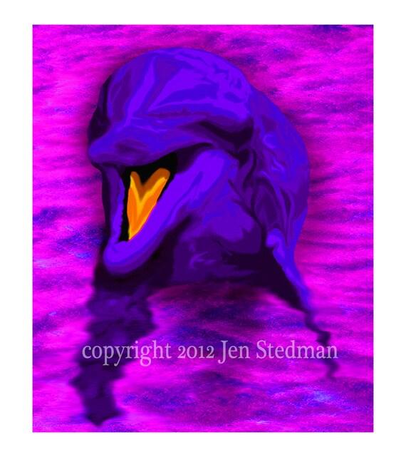 Items Similar To Bottlenose Dolphin, Artwork Print